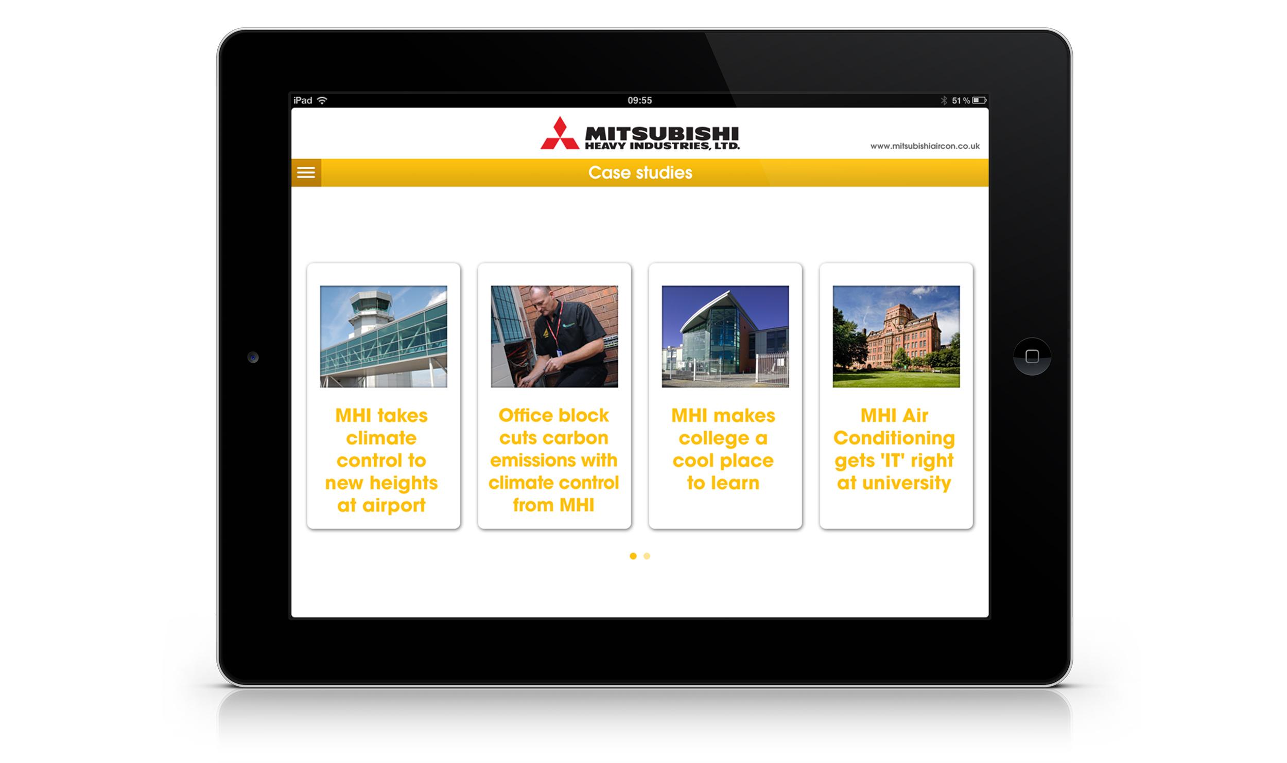 Case studies menu screen.