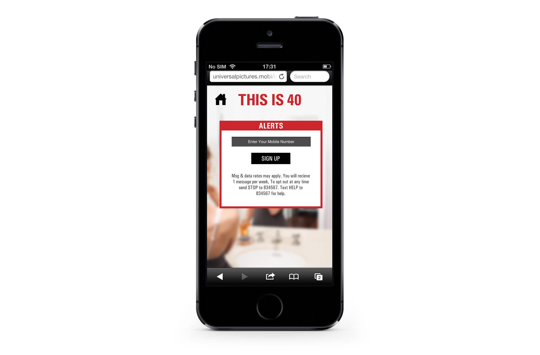 Smartphone: sign up for movie alerts screen.