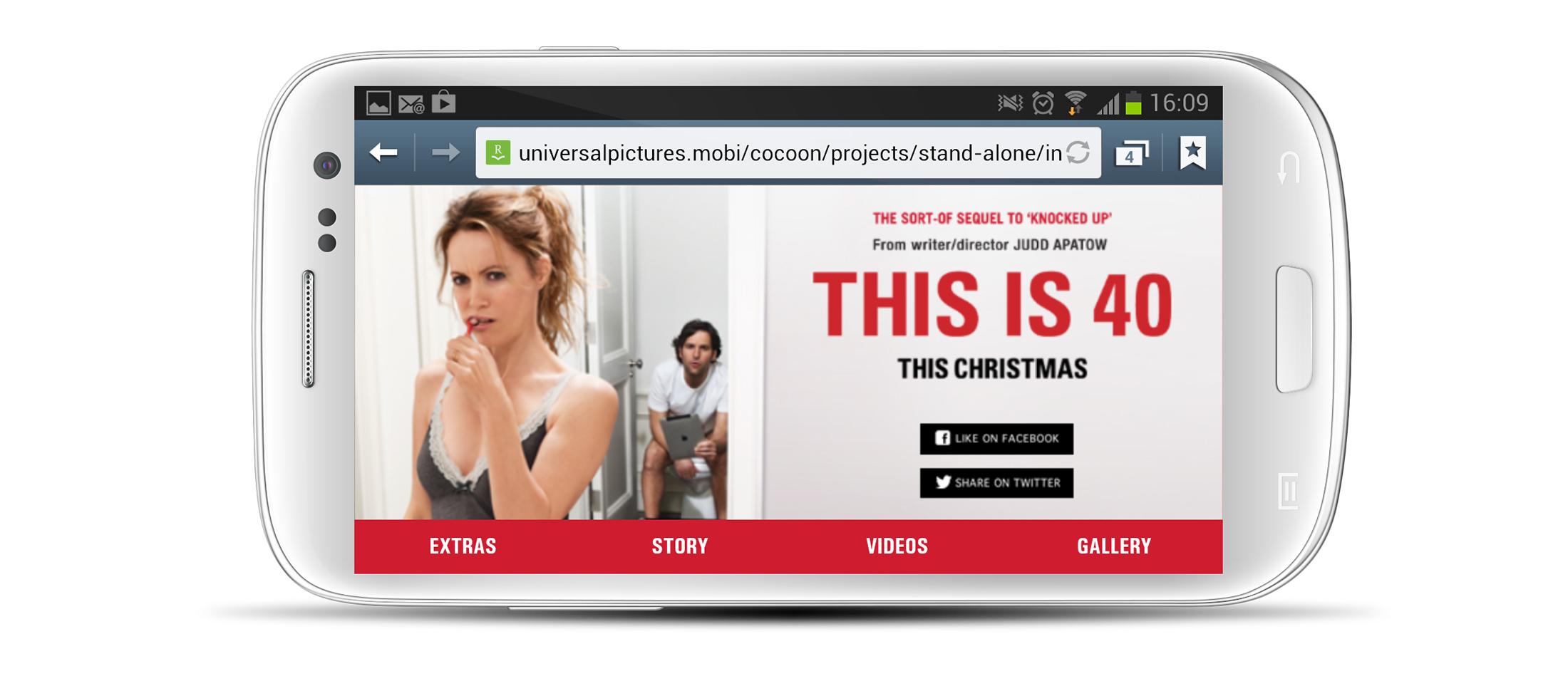 Smartphone: homescreen in landscape orientation.