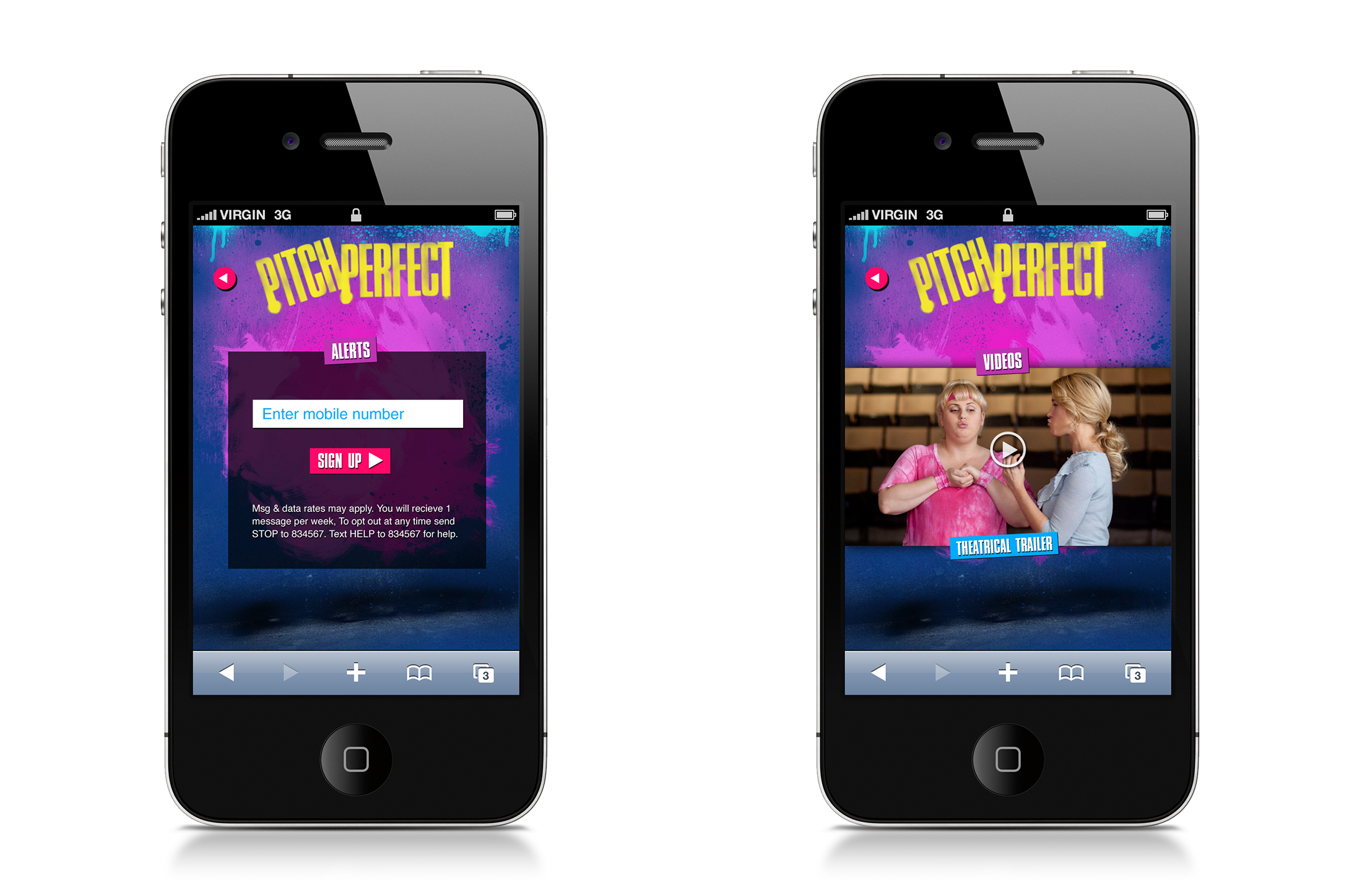 Smartphone: sign up for movie alerts and video screens.