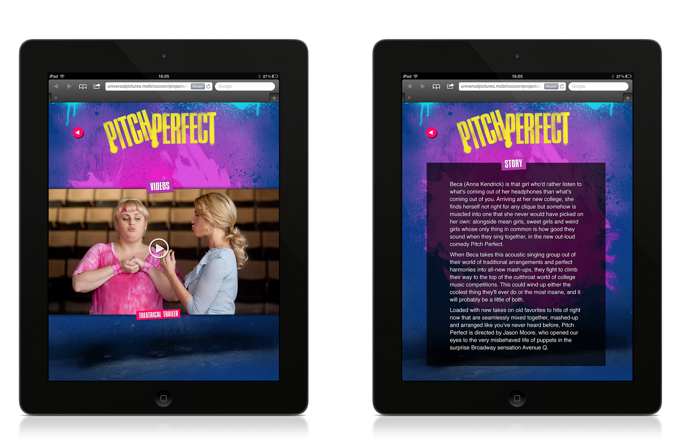 iPad: Video and story screens.