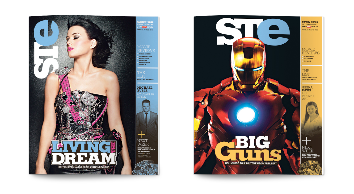Cover designs for STE Magazine. Designed at    The Sunday Times   , Perth, 2010.