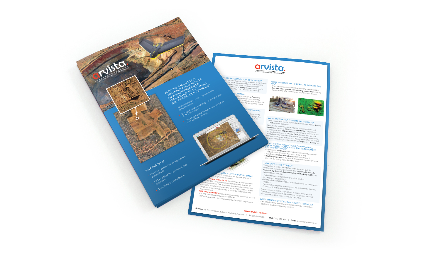 Double sided A4 flyer for Perth mining company  Arvista . Designed in Perth, 2014.