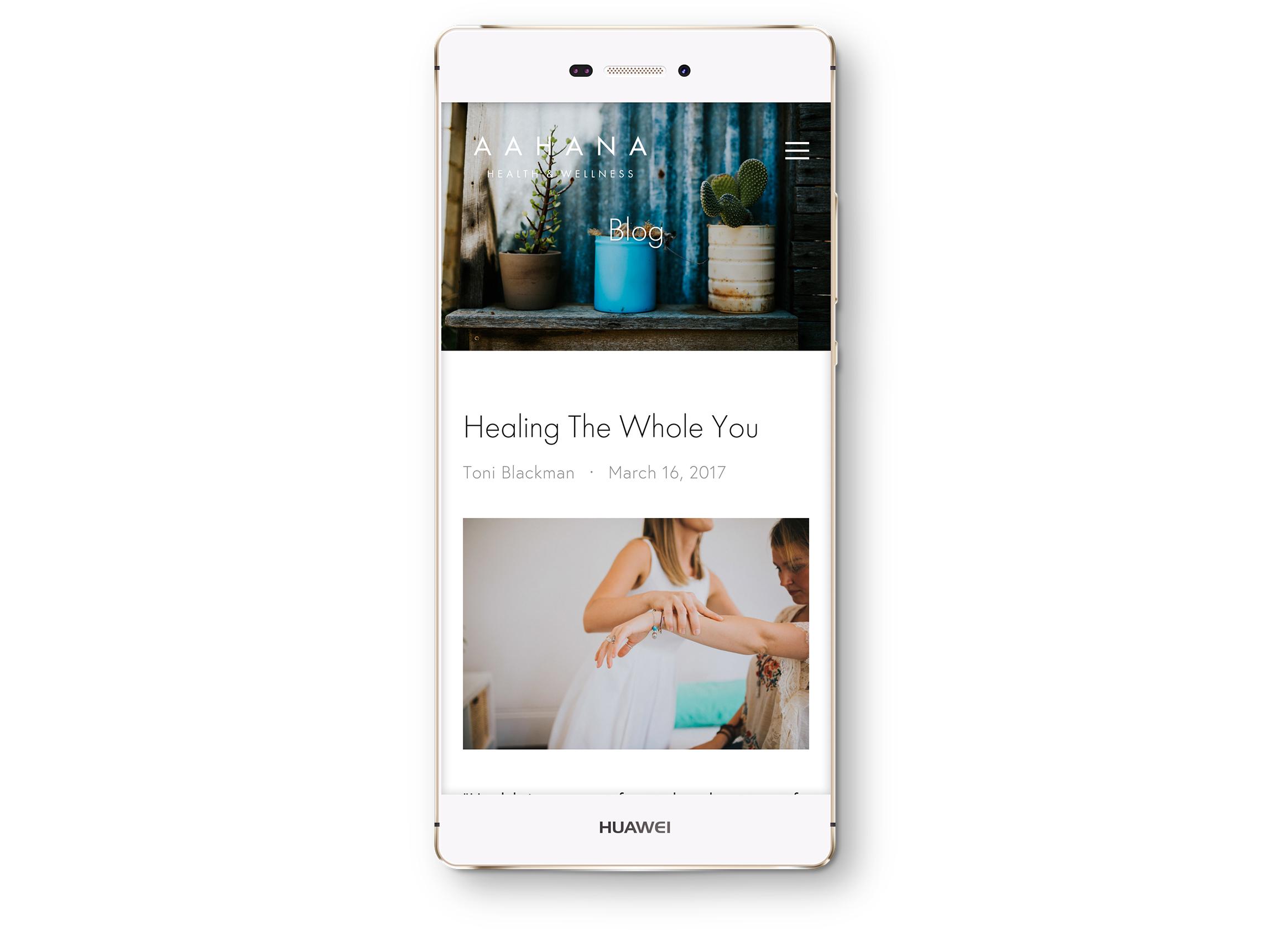 Smartphone: Blog screen.
