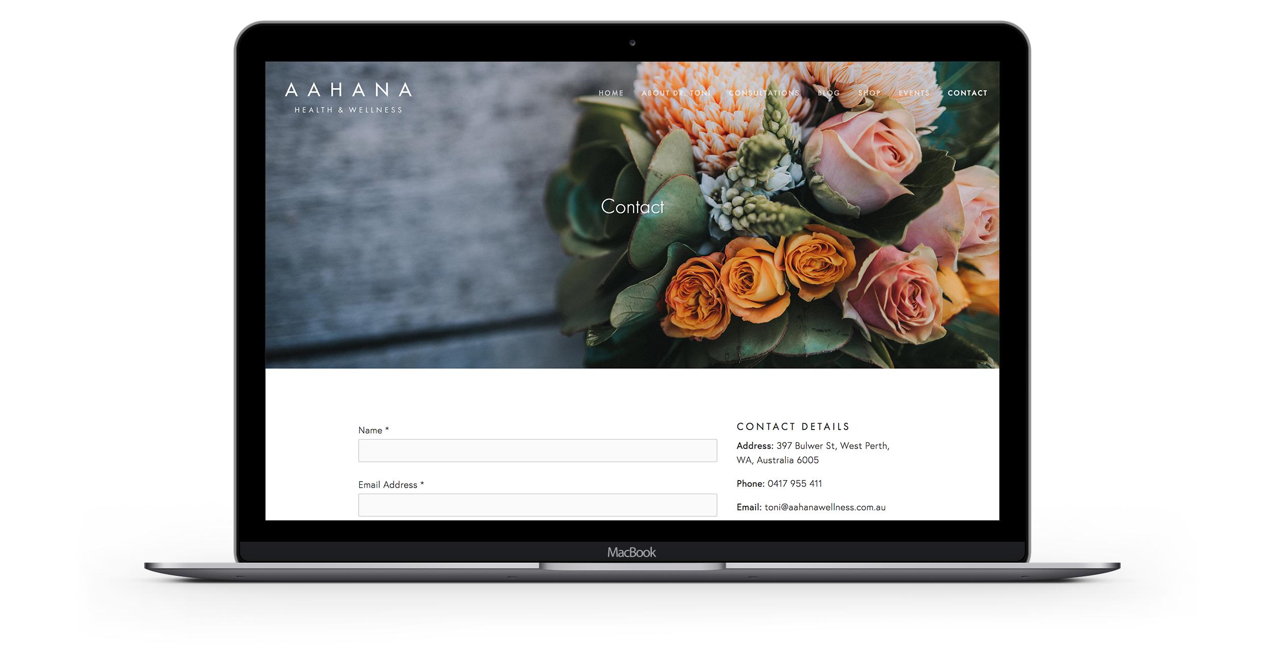 Desktop: contact page.