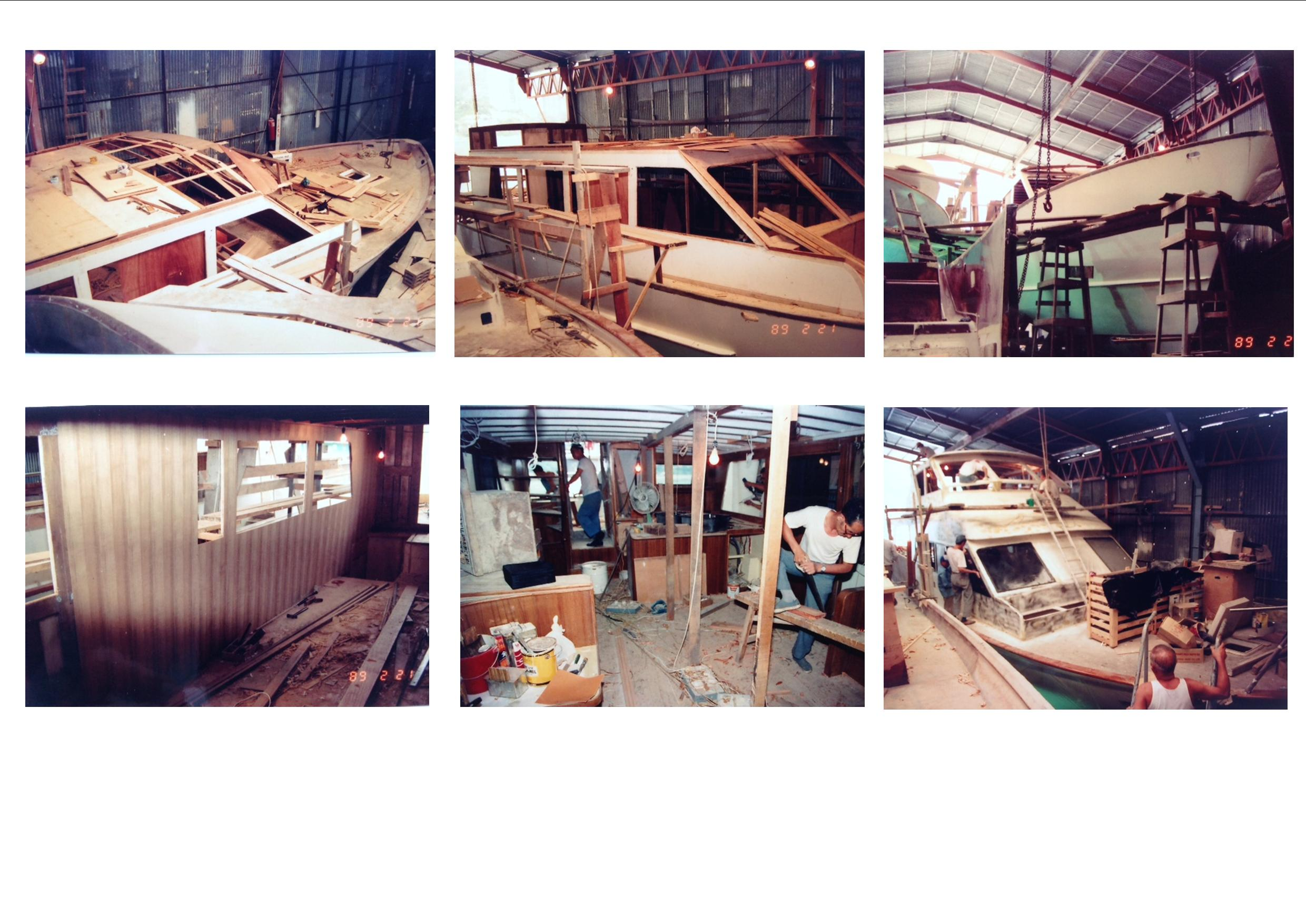 The above photos show the boat at various stages of her construction.