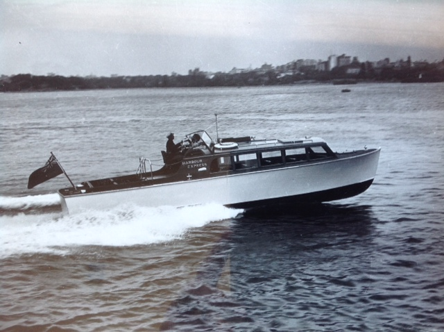 """35' """"Harbour Express"""" operated by Harbour Tours a division of Lars Halvorsen Sons. 1947. Could carry between 16 and 23 passengers for 30 mile cruises around Sydney Harbour. Operated by Carl Halvorsen. 1 Pound per passenger. Top speed 30 miles per hour."""