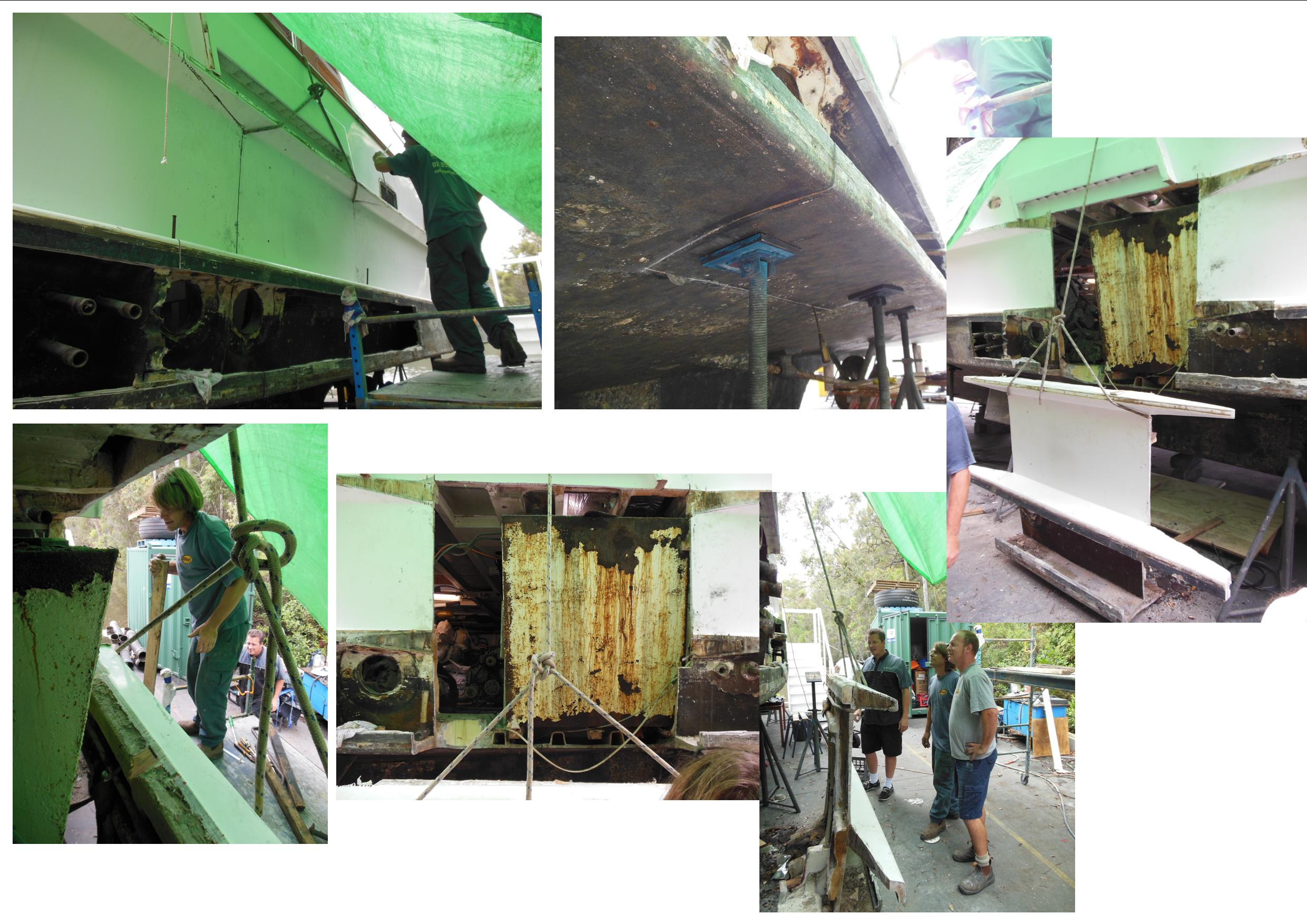 Photo montage showing the delicate cutting operation & removal of the hull section adjacent to the port side fuel tank.