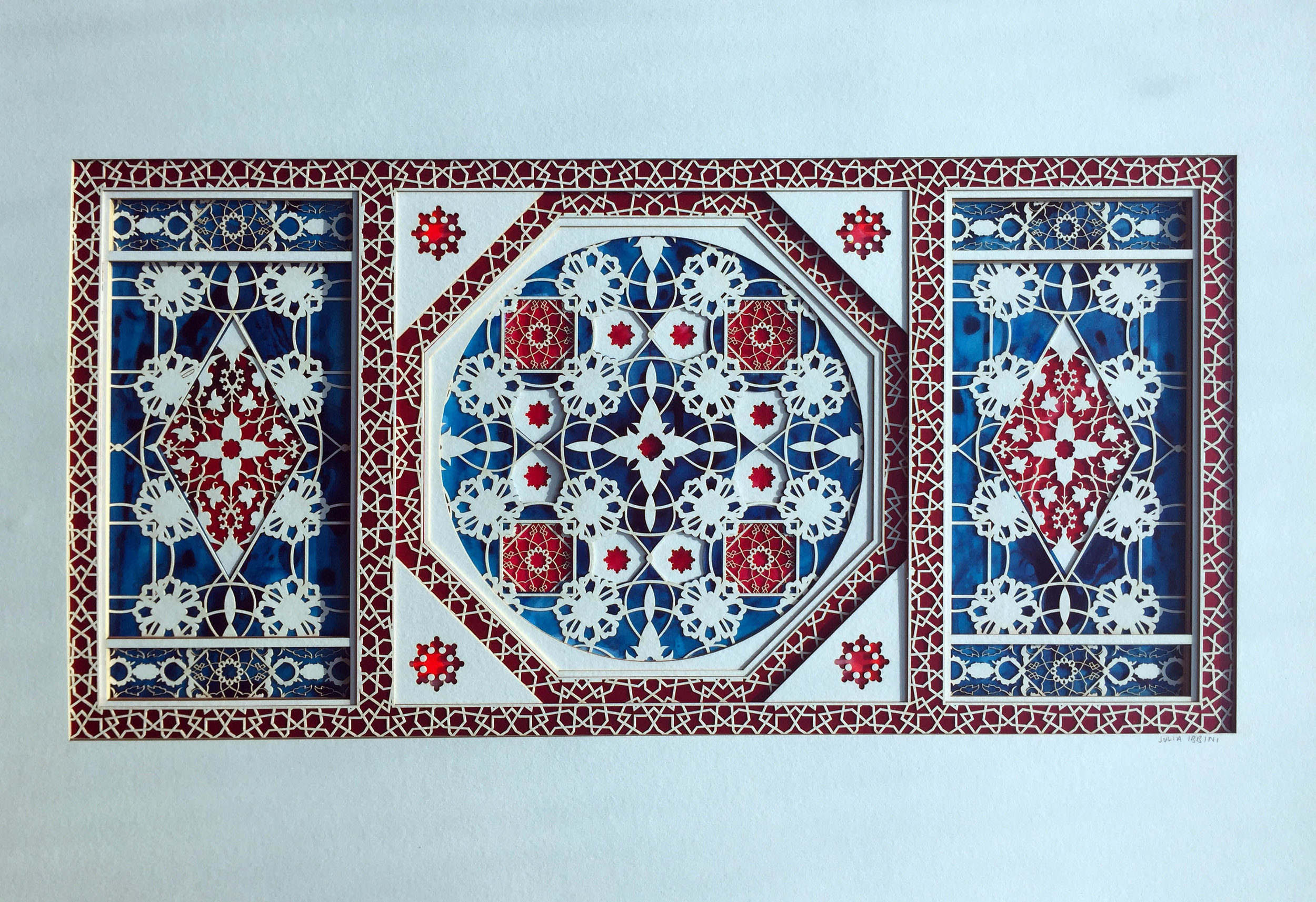Untitled Study (Inlays in Red and Blue)