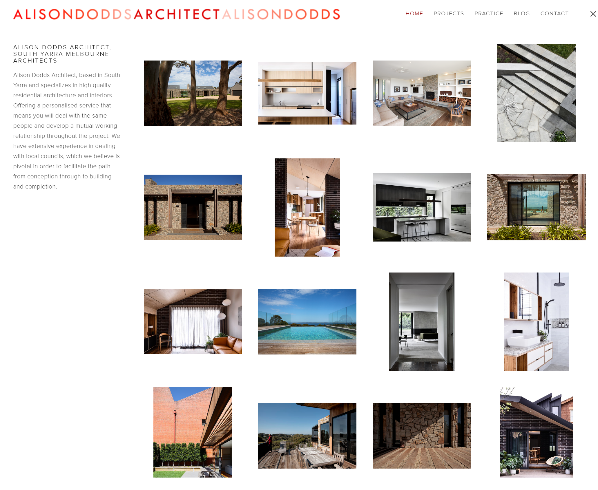 Alison Dodds Architect  Portfolio website for Melbourne Architect Alison Dodds. Showcasing upcoming and current projects.  View site ->