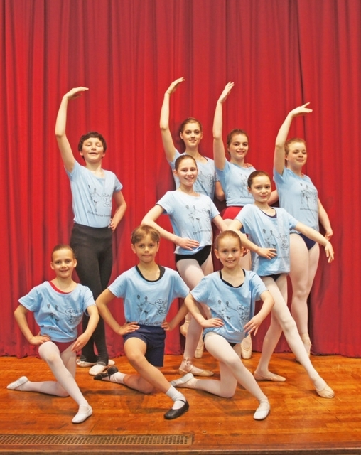 Ballet dancers, back, from left, Joshua Watson, Amy Canning, Eleanor Borrill, Charlotte Howard, middle, Alice Vale, Charlotte Watson, front, Betsy Looker, Isaac Looker, Jasmine Kibble