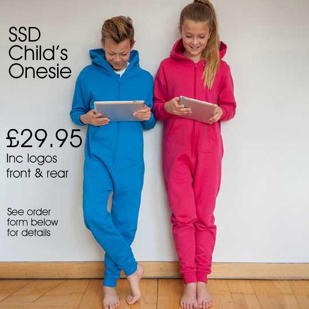 SSD Children's Onesie  £29.99  inc logo front and rear