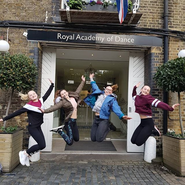 Jumping for joy after Intermediate Foundation and Intermediate RAD exams at HQ. Well done girls.....and perfect bunheads! # saxteadschoolofdance #royalacademyofdance #ballet #bunheads #balletexams