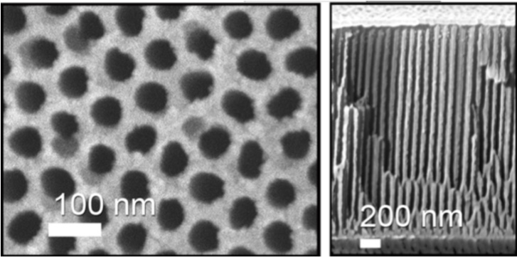 Uniform nanopores of anodic alumina