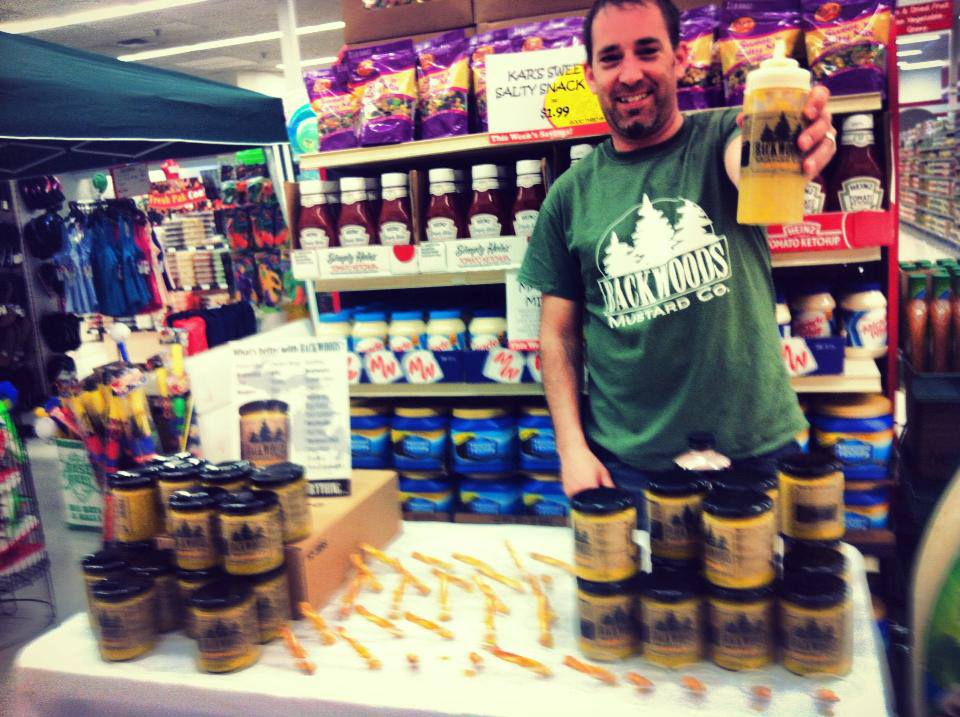 Backwoods Mustard sample table at Bueche's Food World