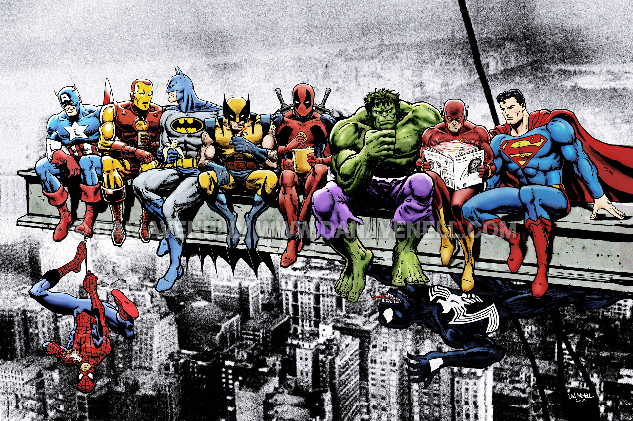 Marvel & DC Superheroes Lunch Atop A Skyscraper