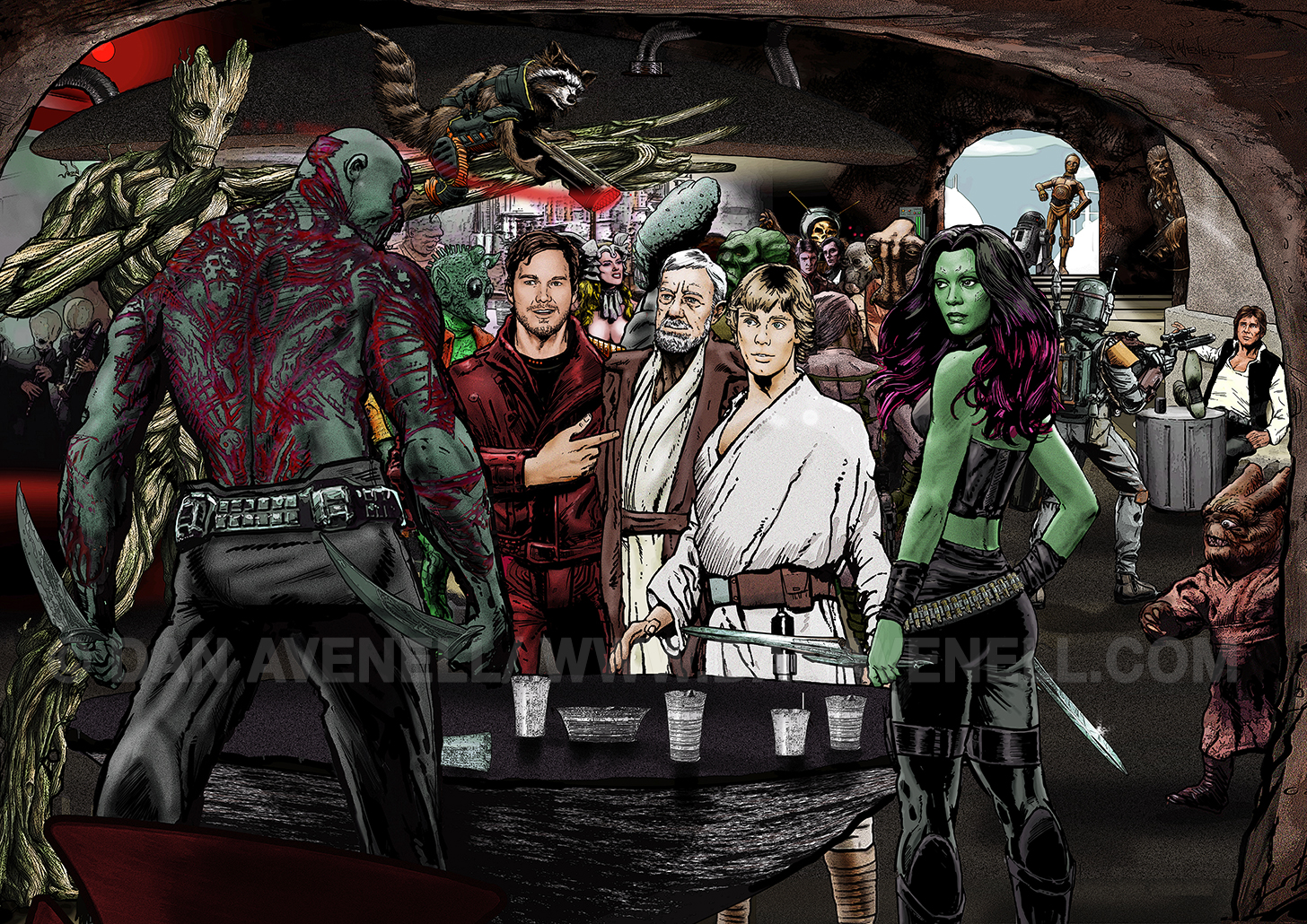 Guardians In A Galaxy Far, Far Away by Dan Avenell. Click to enlarge.