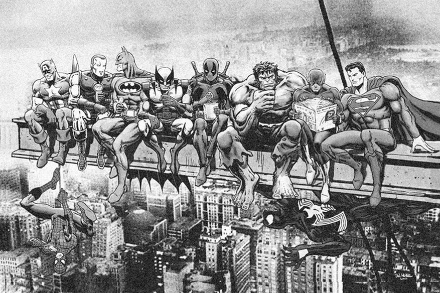 Breakfast Of Champions  - Marvel and DC Superheroes Lunch Atop A Skyscraper