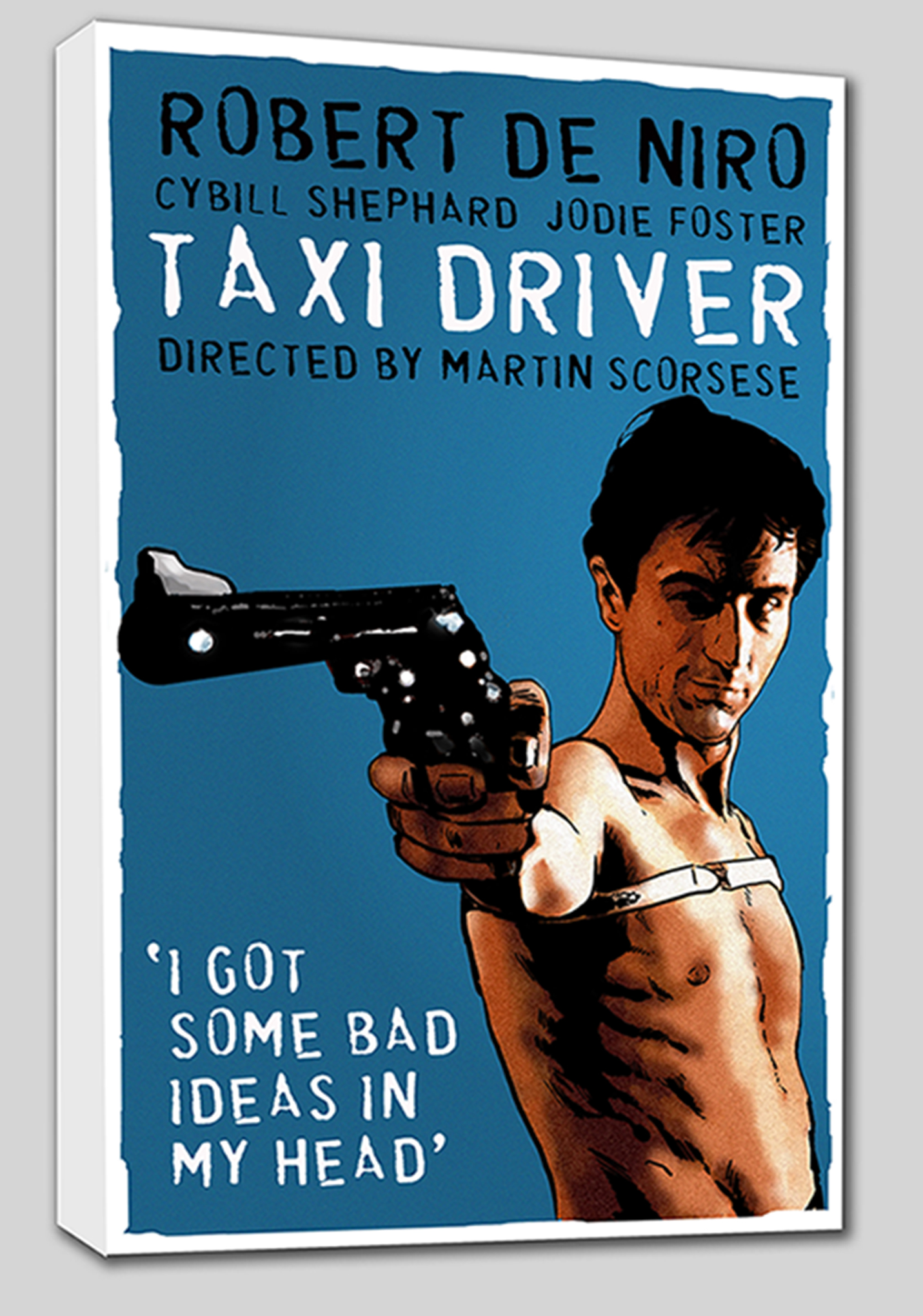 Taxi Driver Mounted Canvas Wrap - the colour  extends around the edges of the canvas