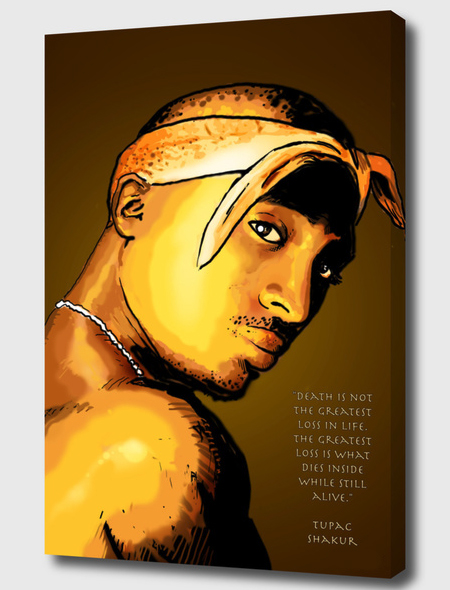 Tupac Shakur Mounted Canvas Wrap -the art extends around the edges of the canvas