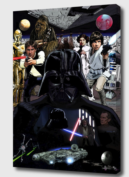 Star Wars Mounted Canvas Wrap - the art  extends around the edges of the canvas