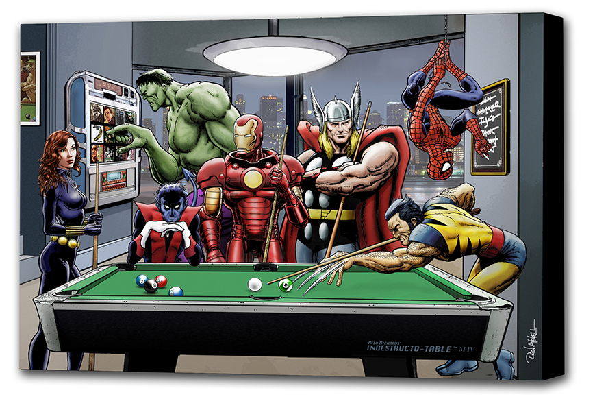 Marvel Superheroes Relax Playing PoolMounted Canvas Wrap   • The art extends around the edges of the canvas  • Printed on 280gsm matt canvas on a 20mm pine box frame  • Made by hand in the UK  • All prints mailed within two working days of receiving order.  • Individually bubble wrapped and carefully packed in a sturdy, custom made box for the total protection of your print.  * If ordering an A2, A1 or A0 Mounted Canvas please include a contact telephone number (PayPal Special Instructions).   * It is not possible to ship A0 Mounted Canvas outside of the UK, if you would like to order the canvas and have it mounted locally, please contact me at danavenell@hotmail.com    Art Print/Poster   • Printed on 260gsm satin-finish photo paper  • You buy direct from the artist  • All prints mailed within two working days of receiving order  • Ideal for framing
