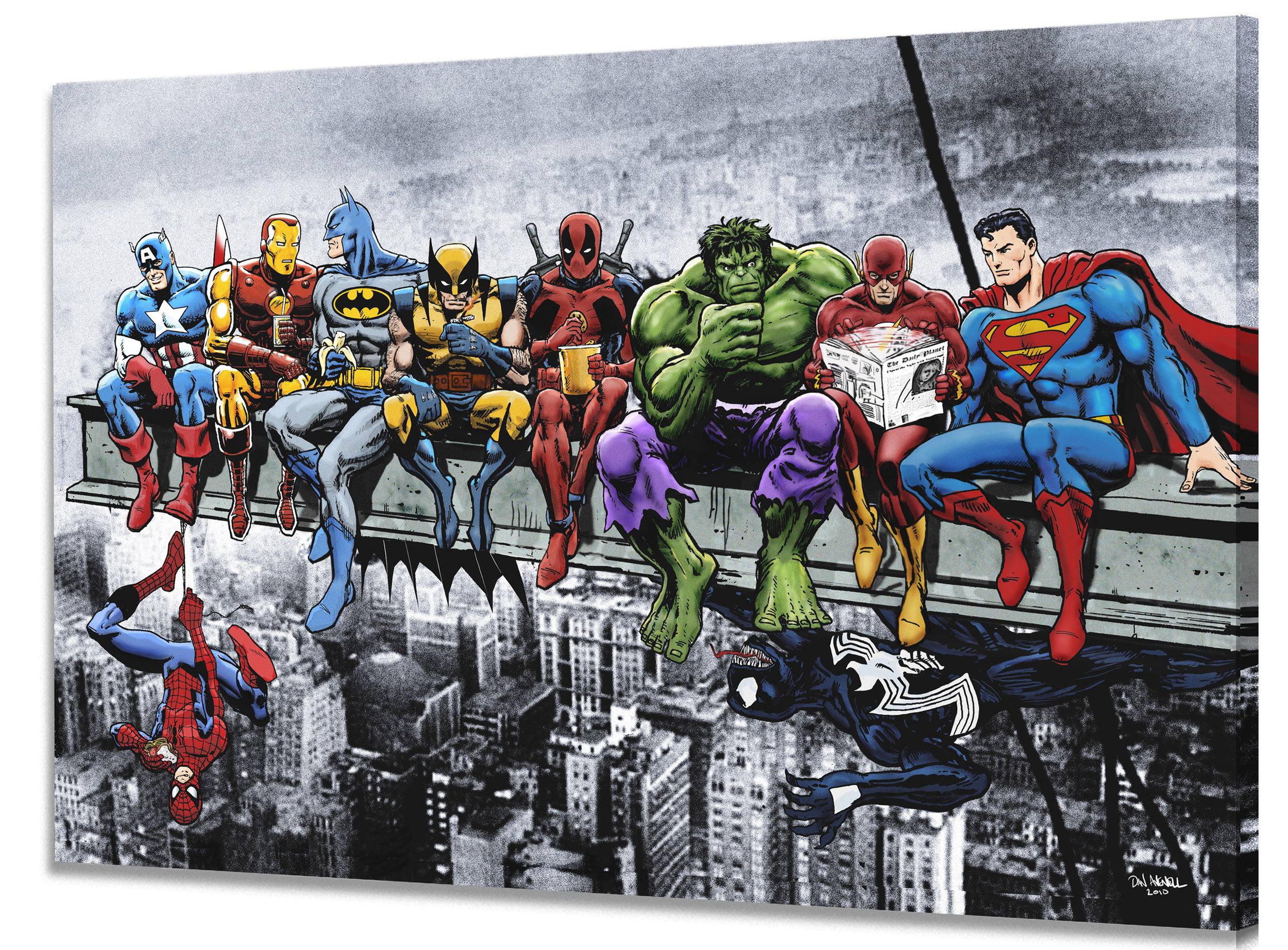 Superheroes Lunch Atop A Skyscraper