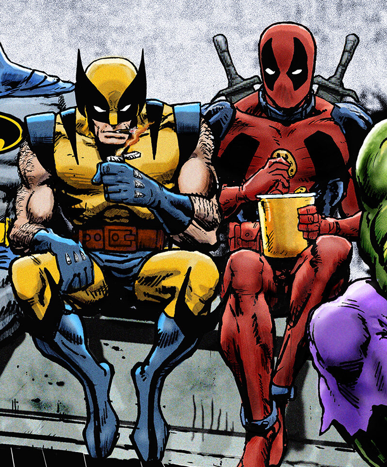 BOSsn iDan+Avenell+Marvel+DC+Lunch+Atop+A+Skyscraperw+Captain+America,+Iron+Man,+Batman,+Wolverine,+Deadpool,+Hulk,+Flash,+Spider-Man+and+Superman.jpg