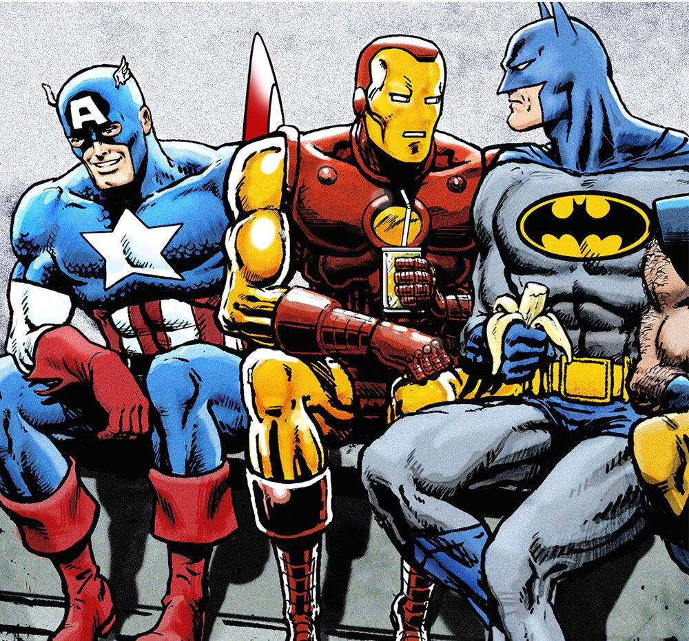 BOdSsDan+Avenell+Marvel+DC+Lunch+Atop+A+Skyscraperw+Captain+America,+Iron+Man,+Batman,+Wolverine,+Deadpool,+Hulk,+Flash,+Spider-Man+and+Superman.jpg