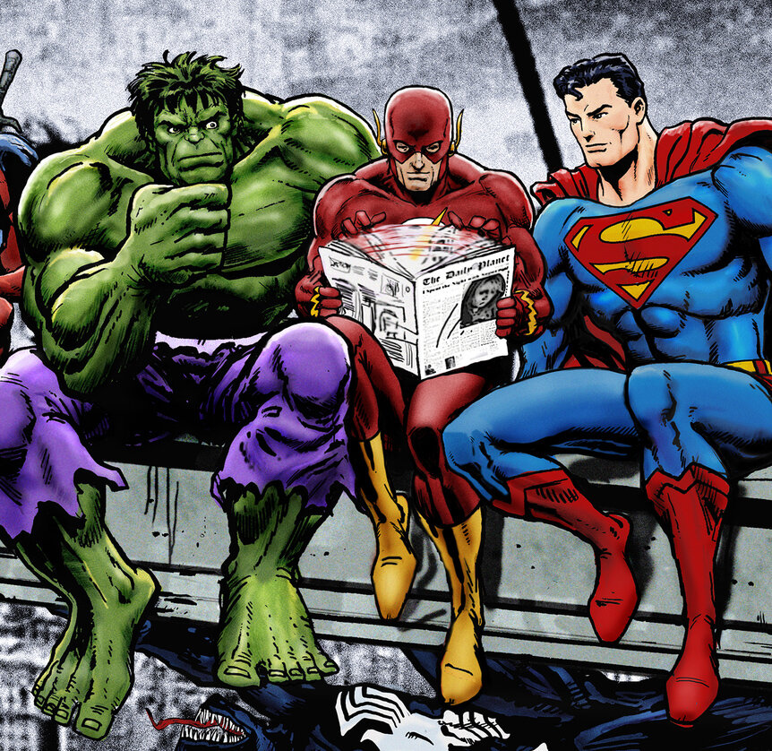 BOSasniDan+Avenell+Marvel+DC+Lunch+Atop+A+Skyscraperw+Captain+America,+Iron+Man,+Batman,+Wolverine,+Deadpool,+Hulk,+Flash,+Spider-Man+and+Superman.jpg