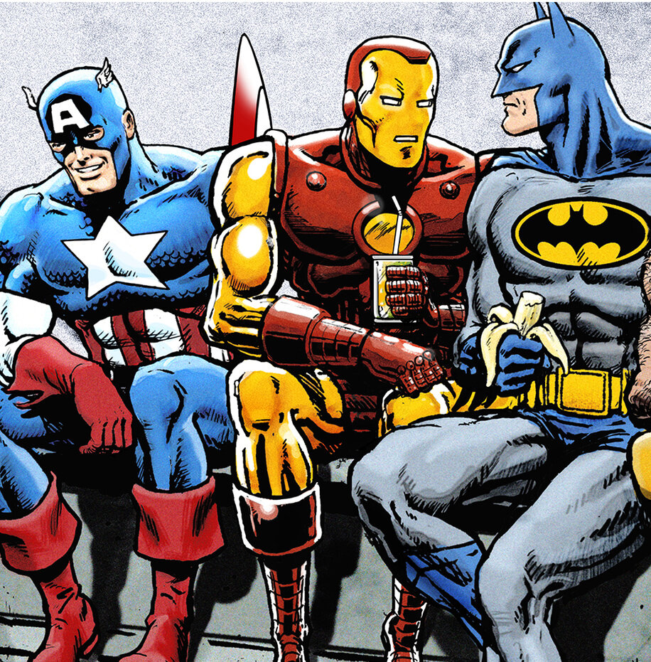 BOSsn Dan+Avenell+Marvel+DC+Lunch+Atop+A+Skyscraperw+Captain+America,+Iron+Man,+Batman,+Wolverine,+Deadpool,+Hulk,+Flash,+Spider-Man+and+Superman.jpg