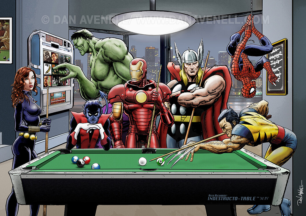 Marvel Superheroes Relax Playing Pool Art Print