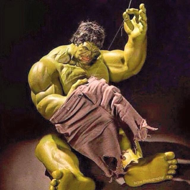Even the Hulk has to do some necessary wardrobe maintenance after all those squats....