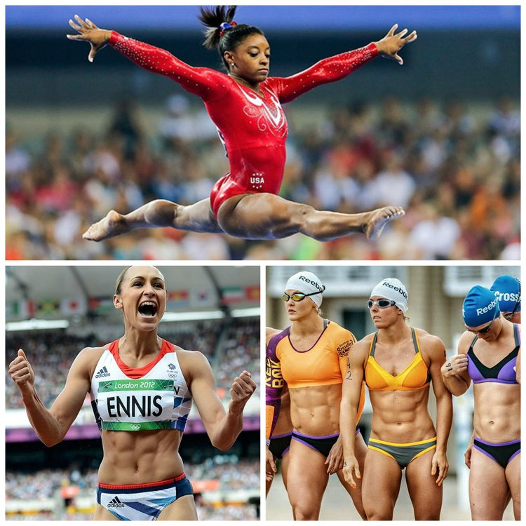 American gymnast and 2016 Olympic individual all-around, vault and floor gold medalist, Simone Biles (top); British Track and Field Athlete and 2012 Olympic Gold Medalist, Jessica Ennis (bottom left); 2015 CrossFit Games Athletes preparing for the Open Water swim event (right)