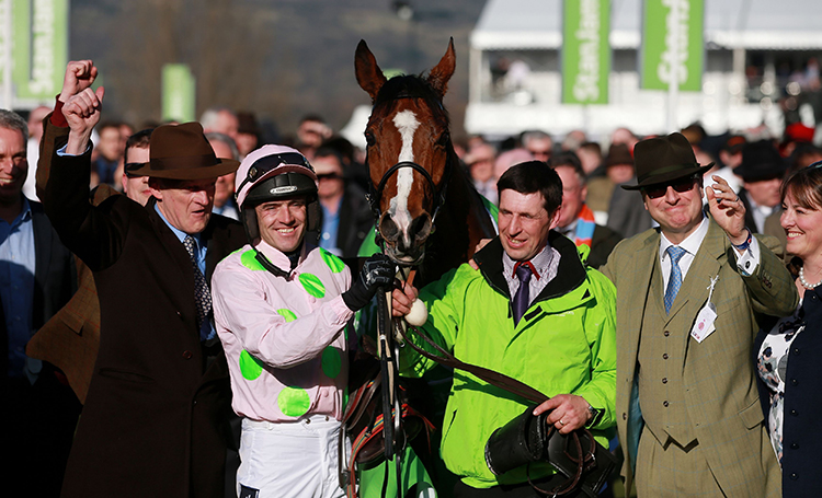 Above: Last year's Champion Hurdle Winner Faugheen, with (from left to right): Trainer Willie Mullins, Jockey Ruby Walsh and Owners Rich and Susannah Ricci.