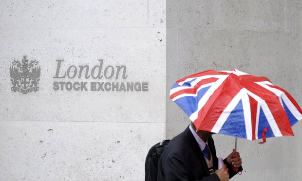 Above: News of a Brexit vote casts a dark cloud over the London Stock Exchange