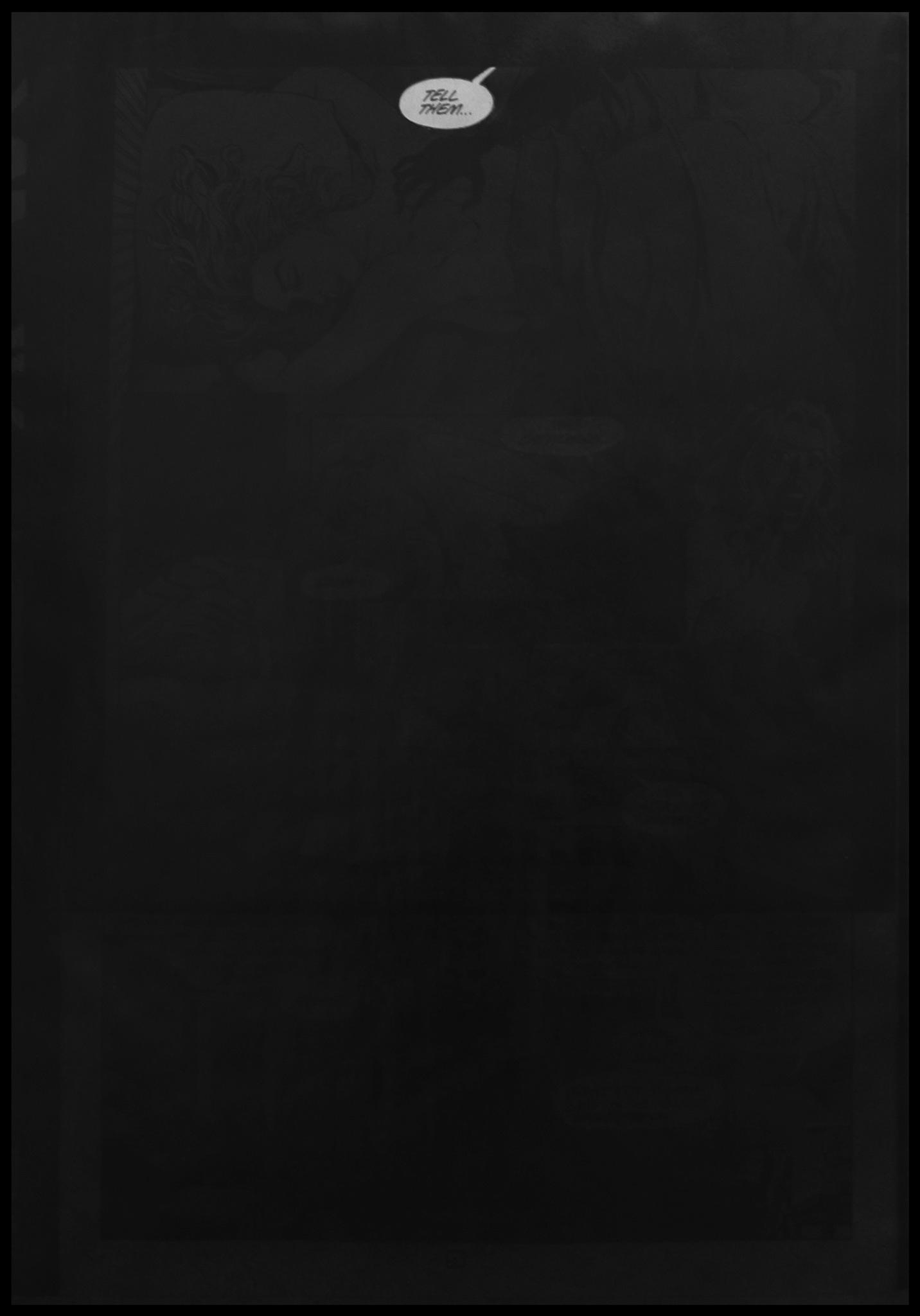Tell Them...   Photocopied 'Batman' / 'Midnight' comic book frames. Spray paint.  84.1 x 118.9 cm