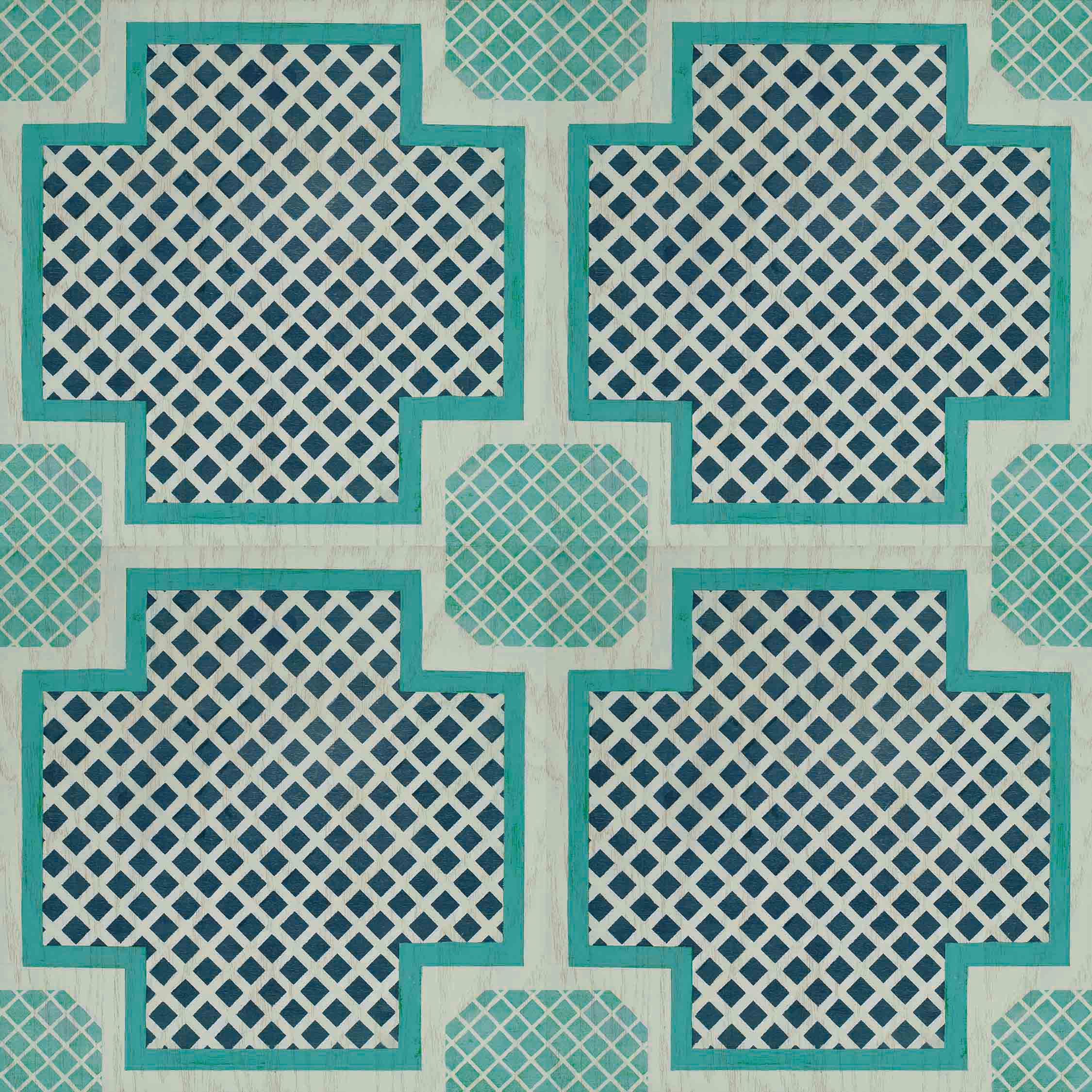 SAMPLE Poppy CoralMint Removable Peel and Stick Temporary Decorative Vinyl Floor Decal Sticker Tile