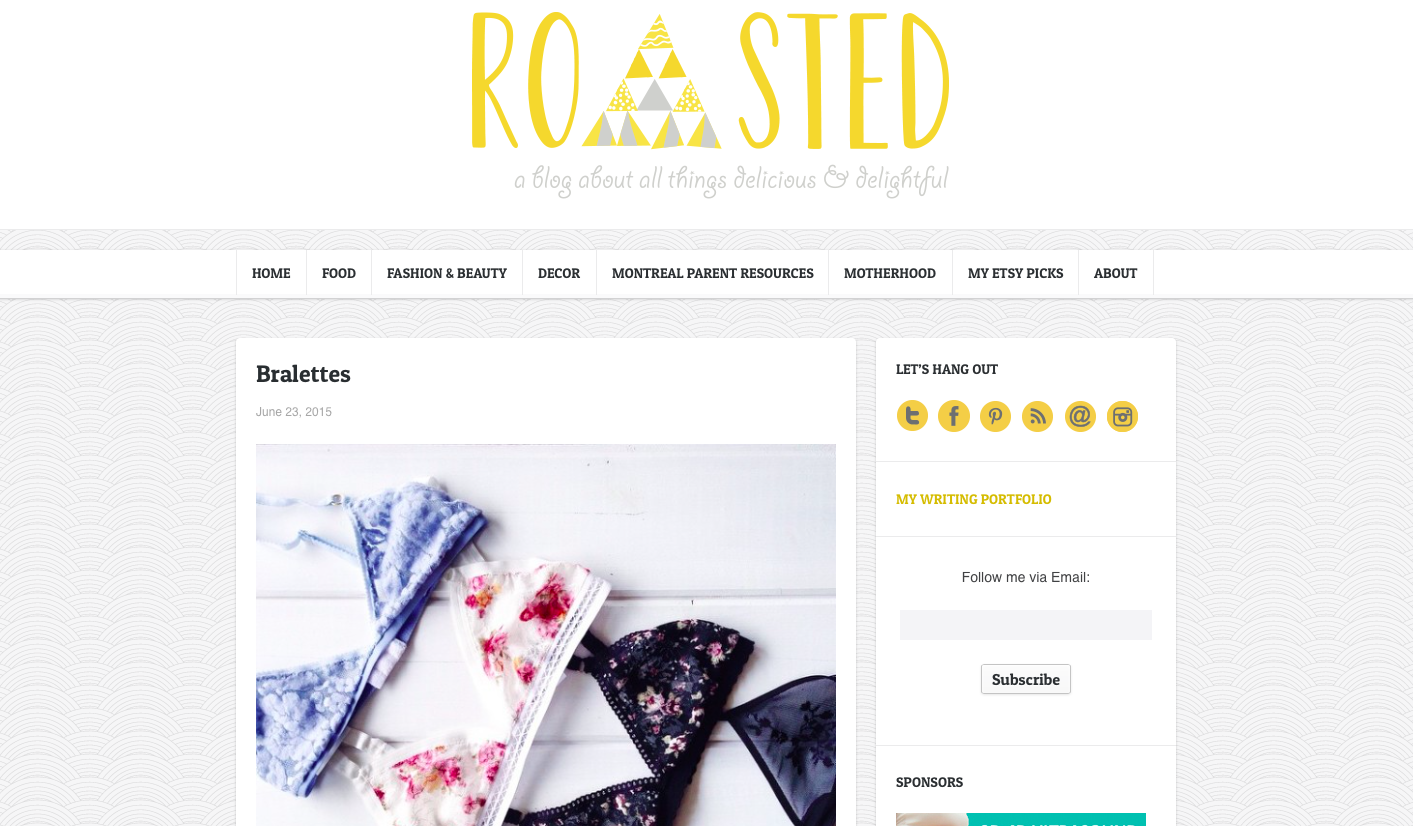 Michelle from Roasted did a super sweet write up on bralettes and Sewn was included in her picks! Check it out  here !