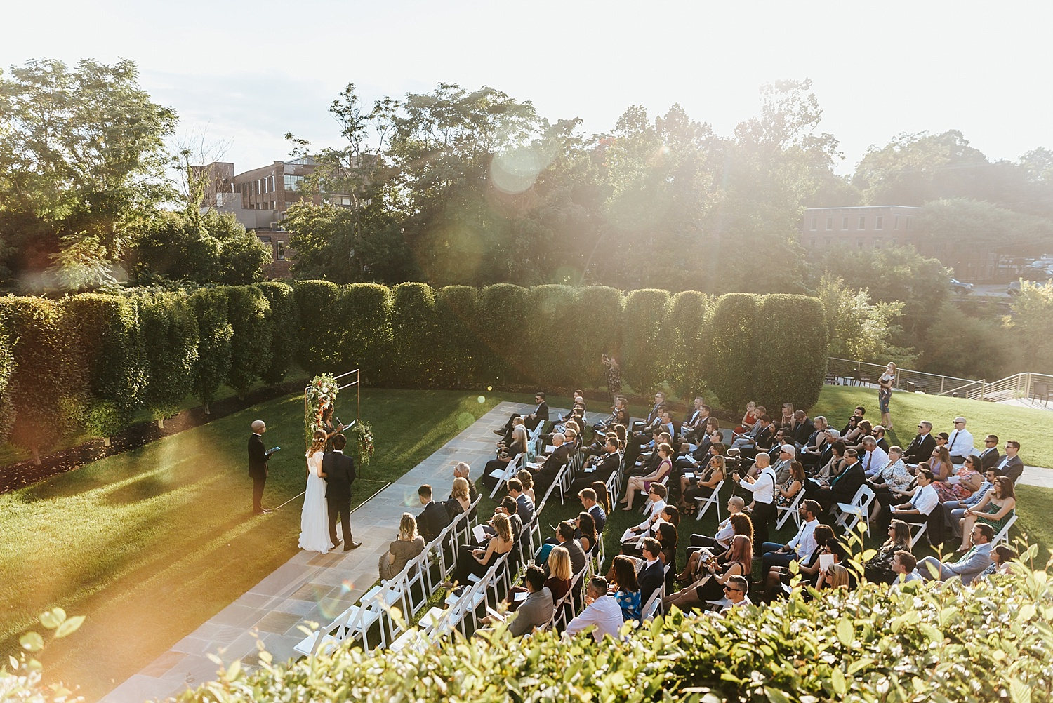 Summer wedding ceremony at the rounhouse