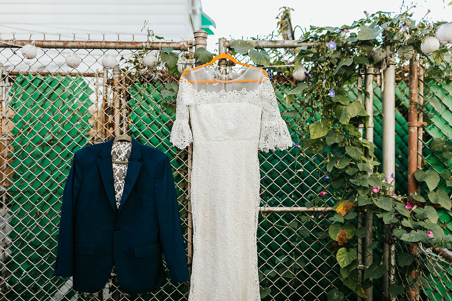 Bride dress and groom's suit in fishtown, philadelphia