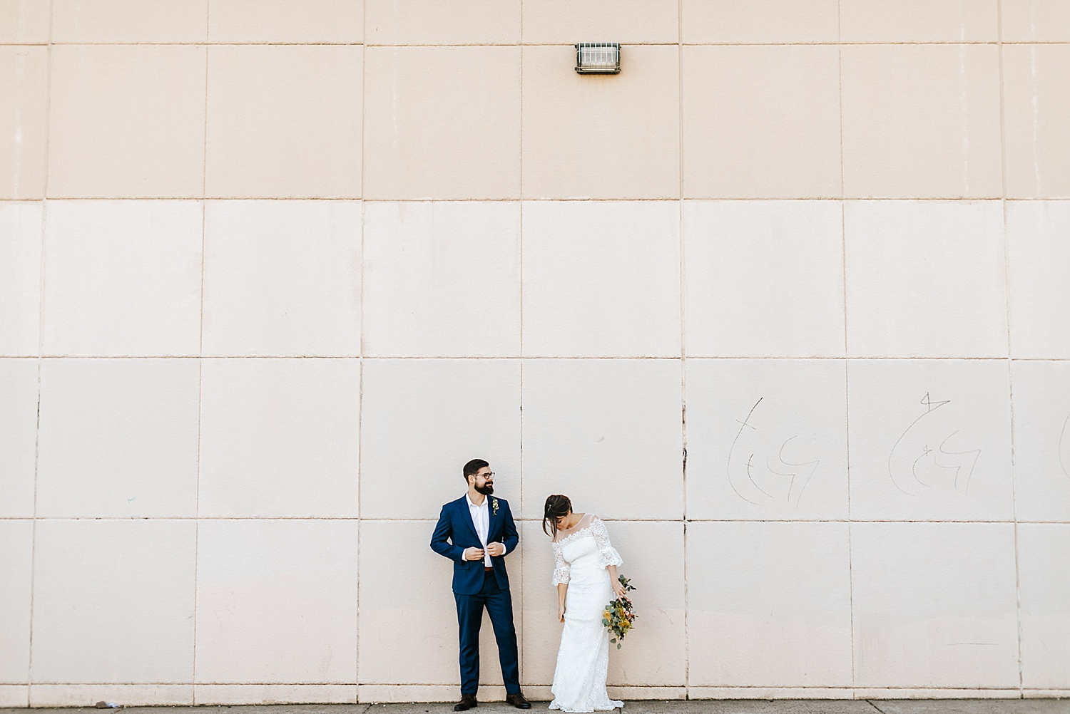 Bride and groom portraits in fishtown, philadelphia