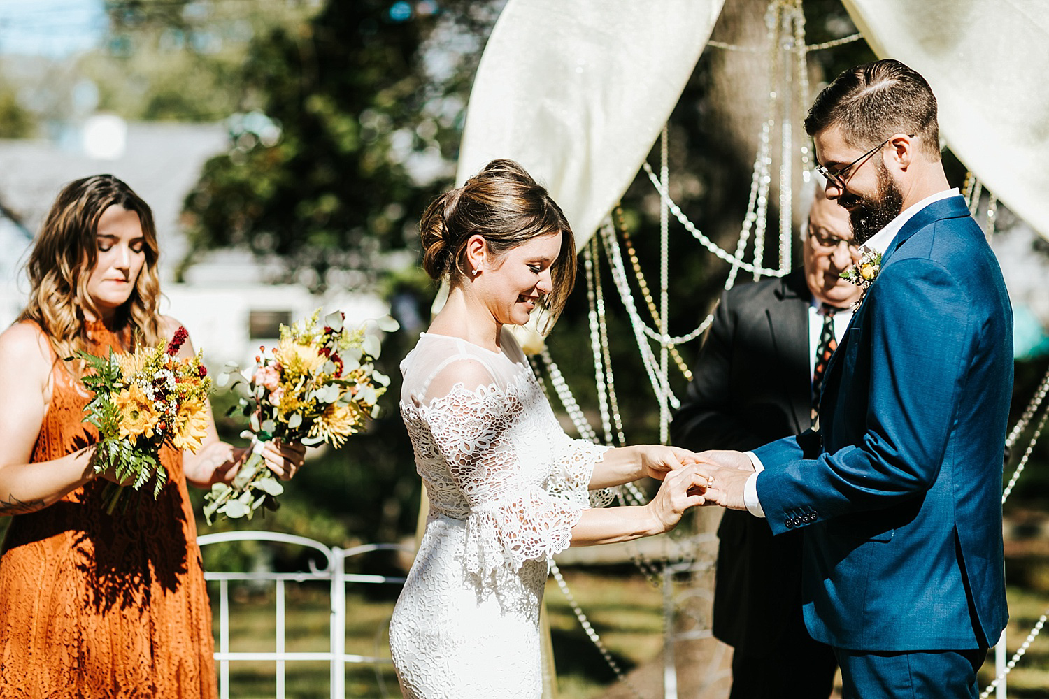 Fall backyard wedding ceremony in pennsylvania by danfredo photos + films