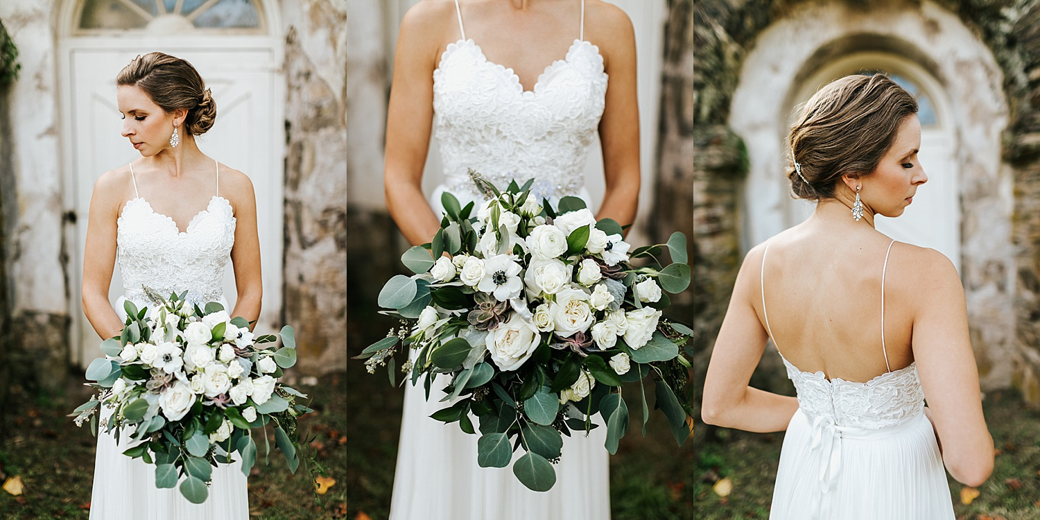 Bride holding a bouquet of flowers at philander chase knox estate