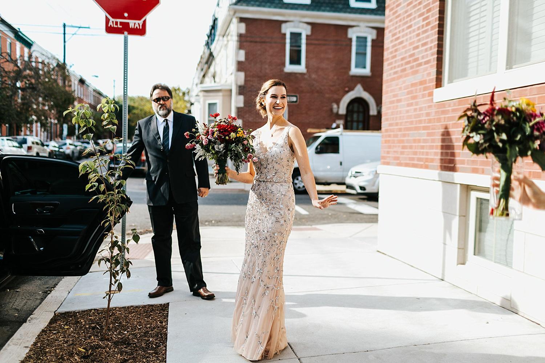 Bride outside in philadelphia