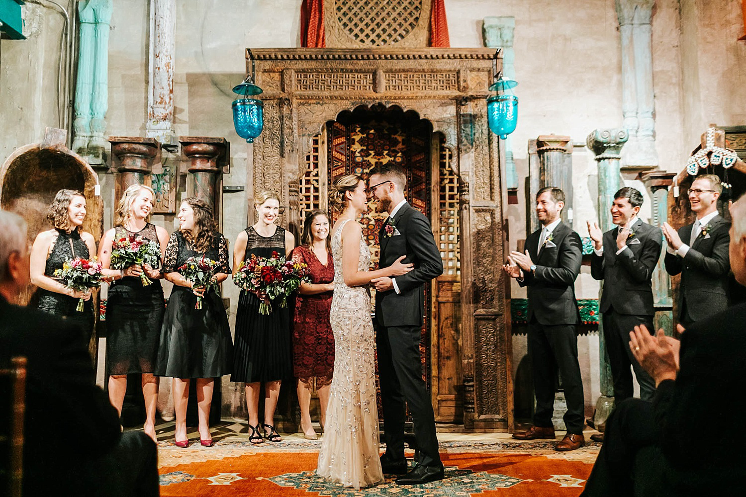 Wedding first kiss at material culture