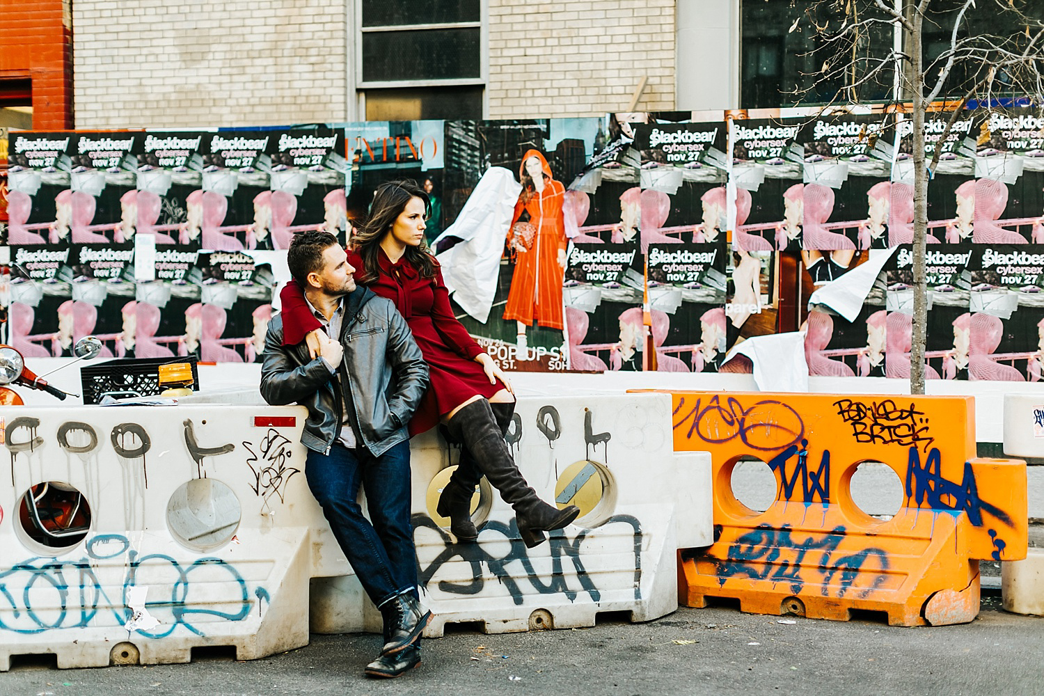 Engaged couple hanging in lower east side manhattan.