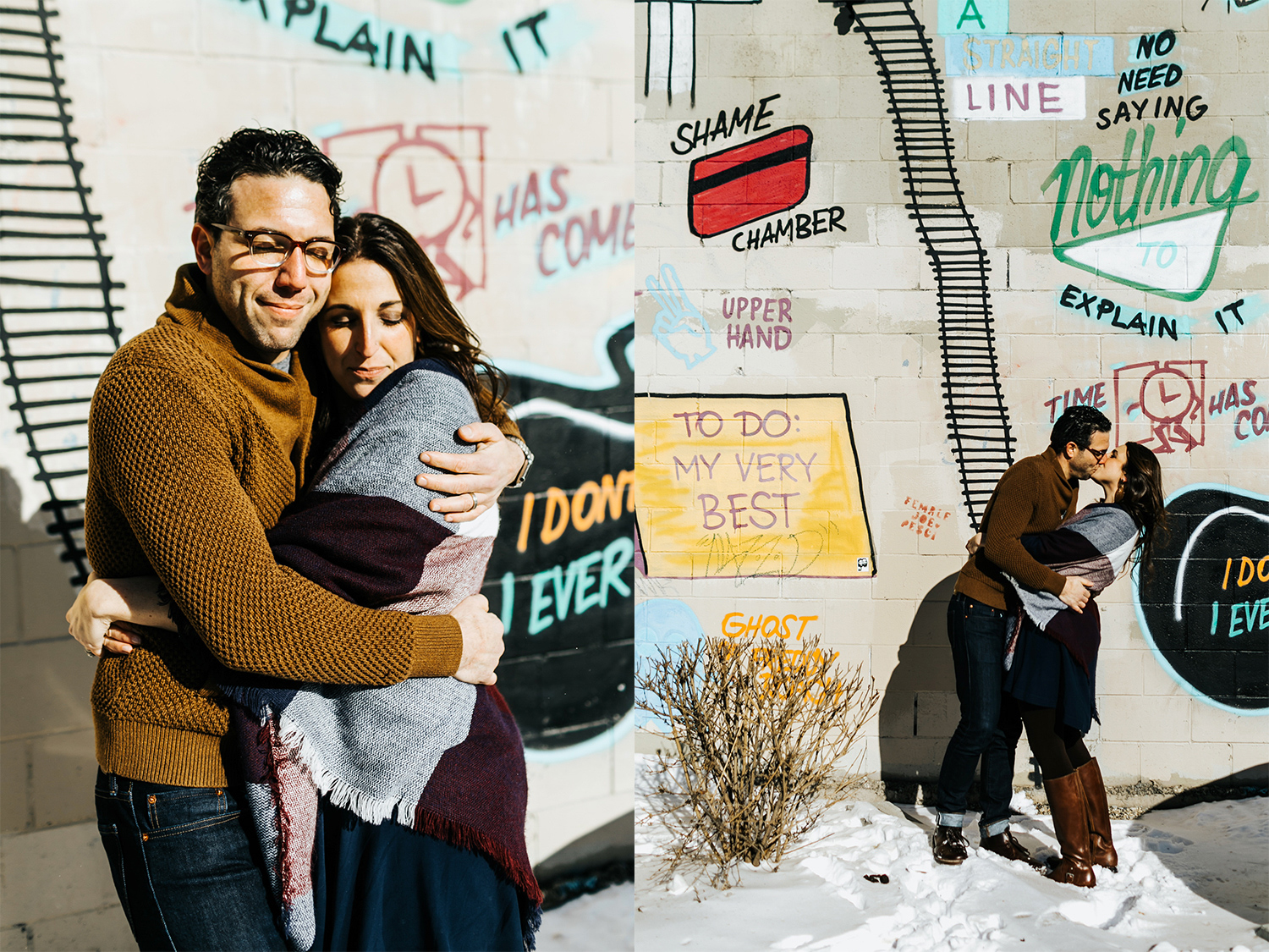Winter couple session at kensington, philadelphia