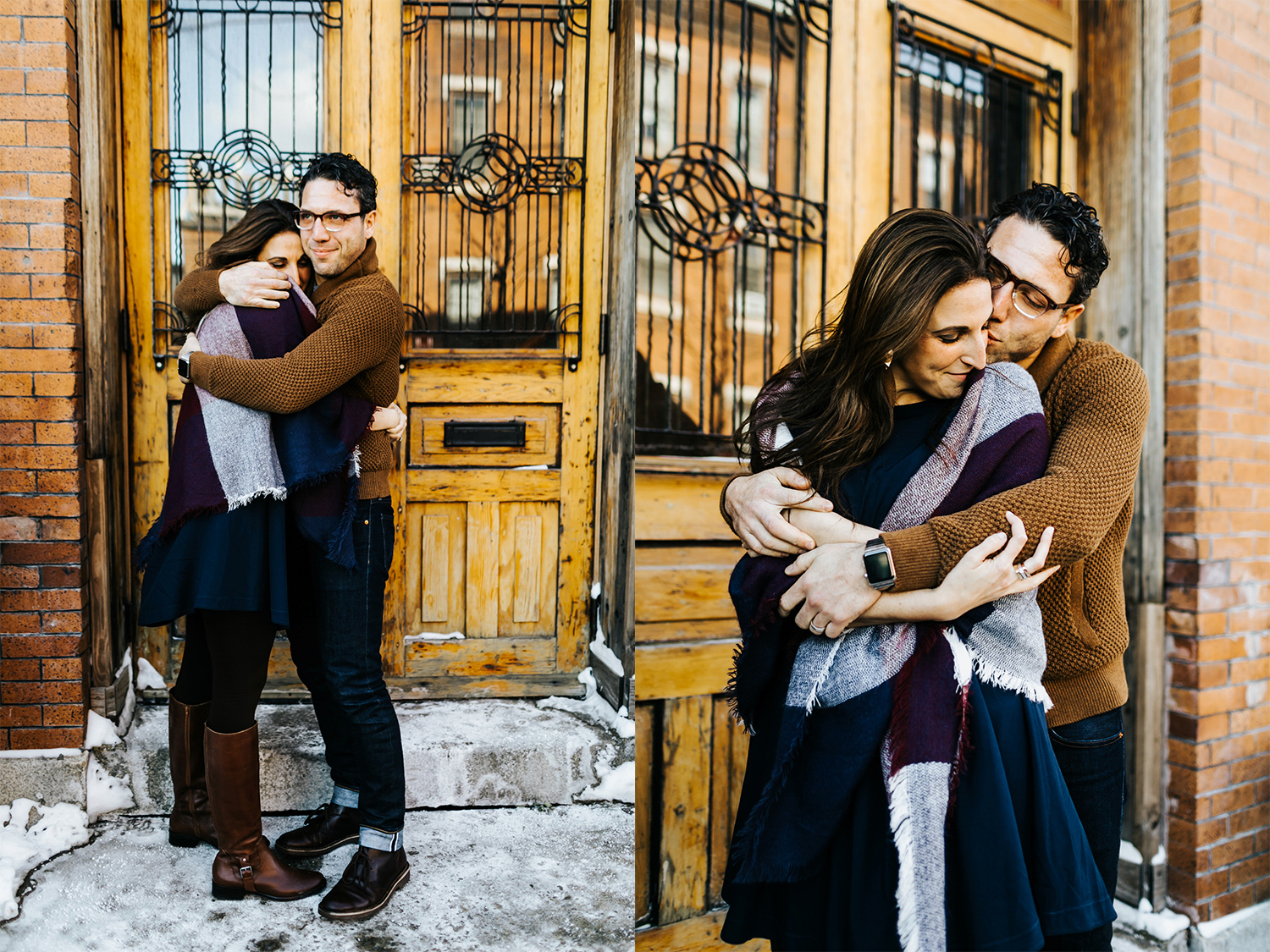 Winter couple session at wm. mulherin's sons