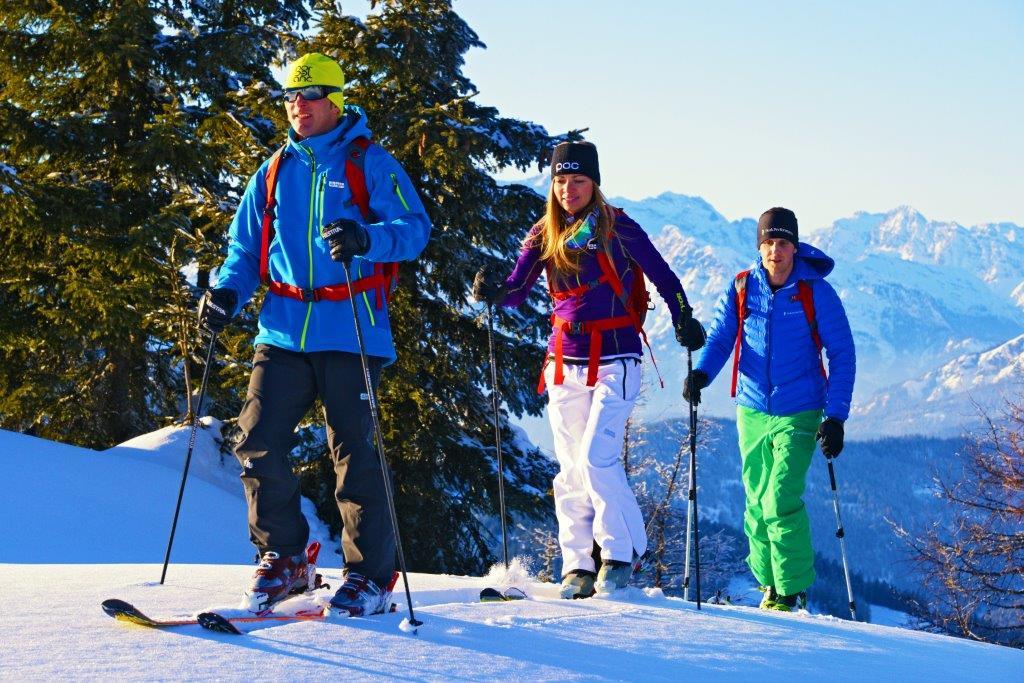 Schneeschuh- und Skitouren  Früh morgens geht es los, die Luft ist stechend klar, die Felle kleben, das Lawinenpieps-Gerät ist an und der Schnee knirscht. Mit den Höhenmetern werden die Sorgen kleiner und die Vorfreude auf die Abfahrt steigt. Die Region Hochkönig ist ein echtes Skitouren- und Schneeschuh-Paradies mit unzähligen Möglichkeiten.  Alle Infos zu Schneeschuh-Touren   Alle   Infos zur Skitouren-Region   Skitouren-Portal   Lawinenwarndienst Salzburg